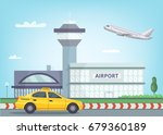 urban background with airport... | Shutterstock .eps vector #679360189