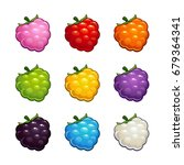 cartoon colorful glossy berry... | Shutterstock .eps vector #679364341