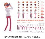 woman in virtual reality... | Shutterstock .eps vector #679371667