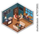 internet cafe interior... | Shutterstock .eps vector #679372831