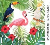 bright summer illustration with ... | Shutterstock .eps vector #679373284