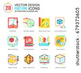 flat line 3d printing and...   Shutterstock .eps vector #679373605