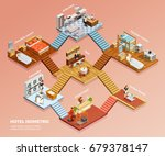 different hotel rooms design... | Shutterstock .eps vector #679378147
