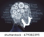 side view of abstract male head ... | Shutterstock . vector #679382395