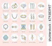 jewelry flat line icons ...   Shutterstock .eps vector #679383997