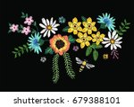embroidery flowers | Shutterstock .eps vector #679388101