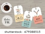 light pink tag sale on summer... | Shutterstock .eps vector #679388515