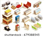 isometric food court interior... | Shutterstock .eps vector #679388545