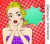 pop of cartoon woman with... | Shutterstock .eps vector #679392805