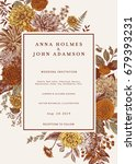 wedding invitation. autumn... | Shutterstock .eps vector #679393231