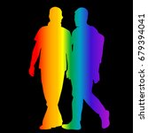 gay silhouettes in rainbow... | Shutterstock . vector #679394041
