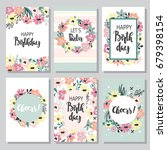 birthday cards design set with... | Shutterstock .eps vector #679398154