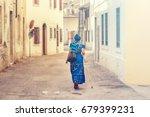 ethnic african woman walking