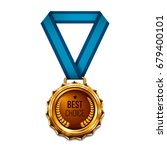medal with blue ribbon.... | Shutterstock .eps vector #679400101