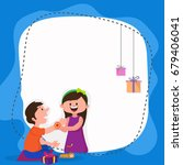 cute sister tying rakhi on her... | Shutterstock .eps vector #679406041