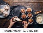 preparation of homemade cakes.... | Shutterstock . vector #679407181
