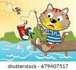 Cartoon Vector Of A Cat Fishing ...