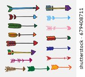 ethnic boho tribal arrows... | Shutterstock .eps vector #679408711