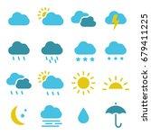 modern weather icons set. flat... | Shutterstock .eps vector #679411225