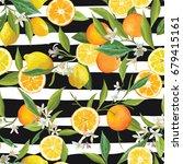 orange and lemon seamless... | Shutterstock .eps vector #679415161