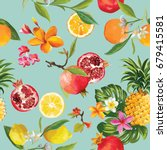 tropical fruits seamless... | Shutterstock .eps vector #679415581