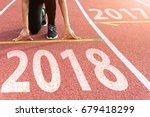 athlete starting line waiting... | Shutterstock . vector #679418299
