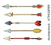 ethnic boho tribal arrows... | Shutterstock .eps vector #679418989