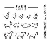vector farm animals silhouettes ... | Shutterstock .eps vector #679420645