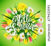 hello summer poster | Shutterstock . vector #679423591