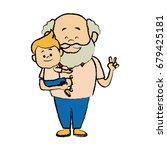 cartoon  grandpa and his...   Shutterstock .eps vector #679425181
