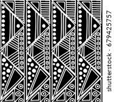 seamless pattern. black and... | Shutterstock . vector #679425757