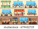 cafe interior set. | Shutterstock . vector #679432729