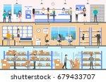 post office interior set. | Shutterstock . vector #679433707