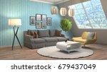 interior living room. 3d... | Shutterstock . vector #679437049