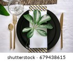 beautiful table setting with... | Shutterstock . vector #679438615