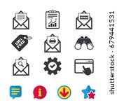mail envelope icons. print...