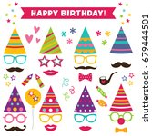 birthday party photo booth hats ... | Shutterstock .eps vector #679444501