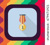 medal flat icon with long... | Shutterstock .eps vector #679471921