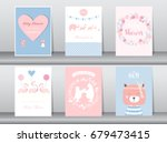 set of baby shower invitations... | Shutterstock .eps vector #679473415