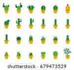 cactus colored flat icons   Shutterstock .eps vector #679473529