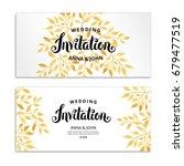 Gold Leaf Invitation. Golden...
