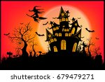 happy halloween message design... | Shutterstock .eps vector #679479271