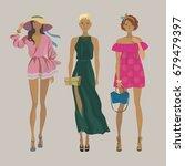 three young stylish girls.... | Shutterstock .eps vector #679479397