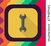 wrench flat icon with long...