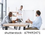 colleagues showing thumbs up... | Shutterstock . vector #679492471