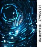 neon blue circles abstract... | Shutterstock . vector #679501534
