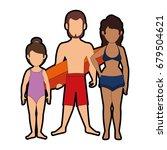 isolated cute beach family   Shutterstock .eps vector #679504621