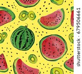 summer seamless pattern with...   Shutterstock .eps vector #679506661