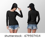 black long sleeve t shirt on a... | Shutterstock . vector #679507414