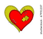 Two Colored Hearts Sewn With...